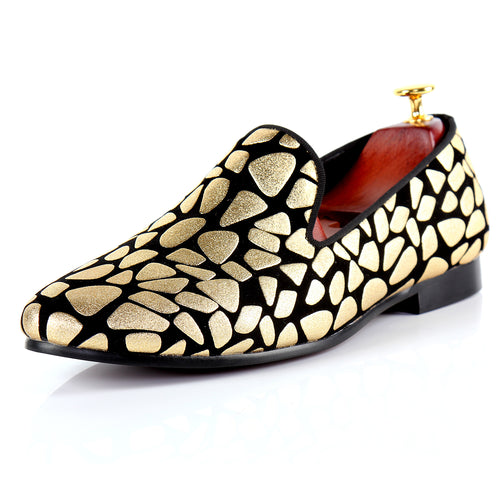 Harpelunde Men Handmade Dress Shoes Gold Print Wedding Loafers