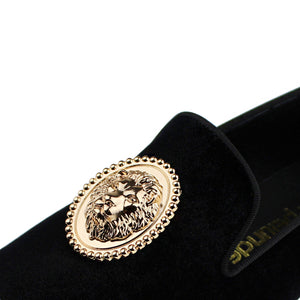 Harpelunde Men Handmade Black Dress Wedding Shoes Lion Buckle Velvet Copper Cap Toe Loafer
