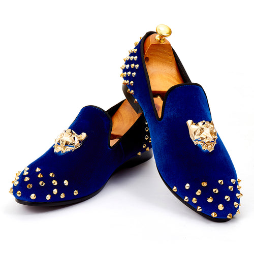 Harpelunde Mens Wedding Spikes Velvet Loafers Animal Buckle Flat Shoes