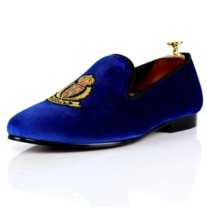 Harpelunde Men Formal Motif Velvet Loafers Handmade Wedding Shoes