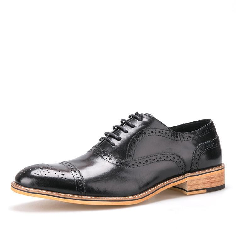 OneDrop Handmade Men Dress Shoes Oxfords Carved Leather Lace Up Bullock Loafers