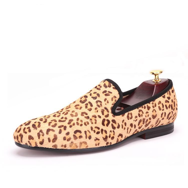 OneDrop Men Handmade Dress Shoes Horsehair Leopard Print Wedding Party Prom Loafers
