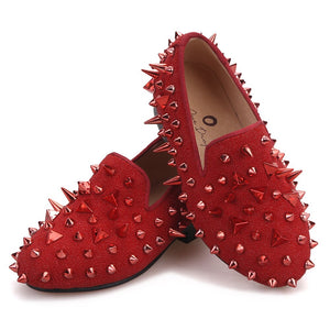 Kid OneDrop Handmade Children Wedding Party And Prom Spikes Red Loafers