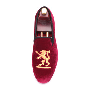 OneDrop Lion Embroidery Velvet Men Handmade Dress Shoes Party Wedding Banquet Prom Loafers