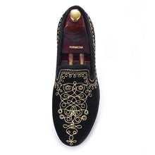 OneDrop Handmade Men Dress Shoes Embroidered Motif Paisley Velvet Party Wedding Prom Loafers