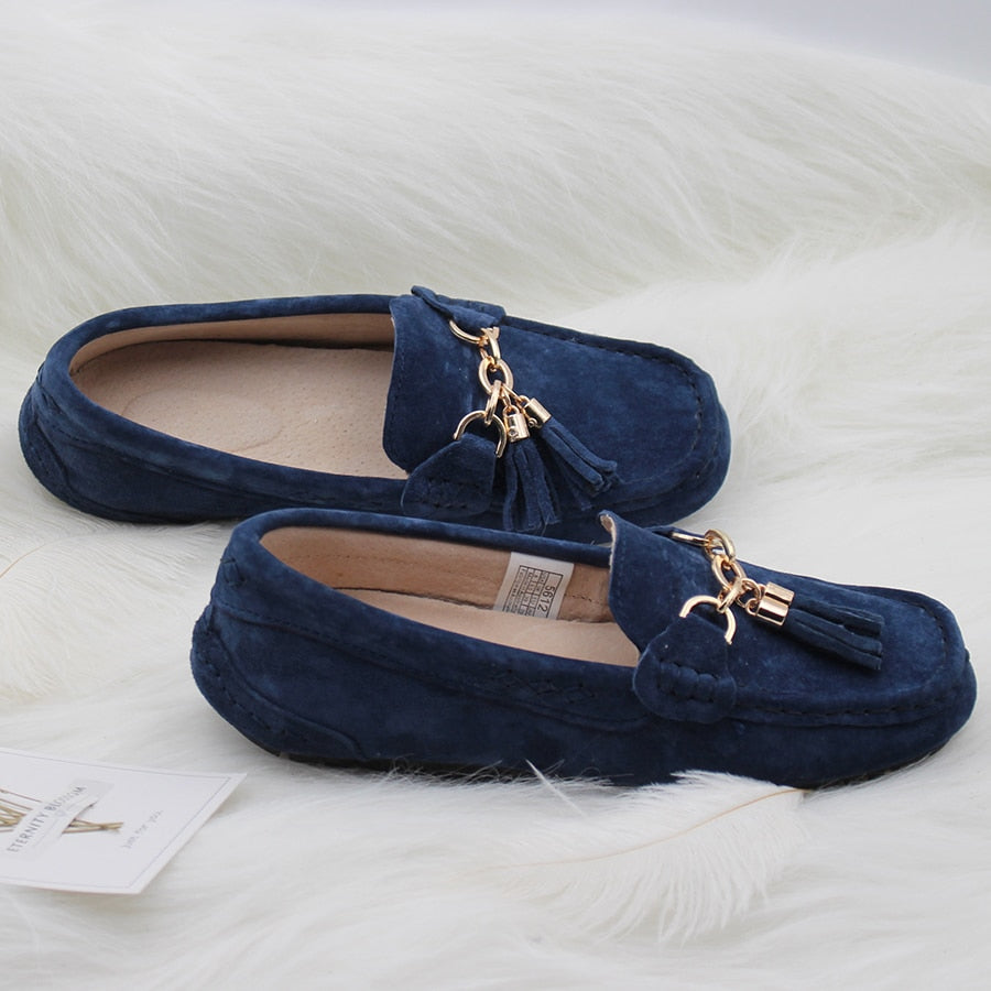 MIYAGINA Leather Women Shoes Female Casual Slip On Flats Loafers