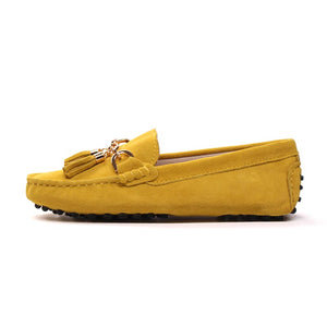 MIYAGINA Women Cowhide Leather Loafers Moccasins Driving Shoes