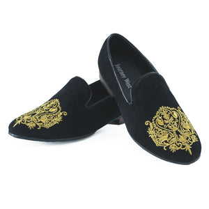 Journey West Men Suede Leather Party and Wedding Black Dress Loafers