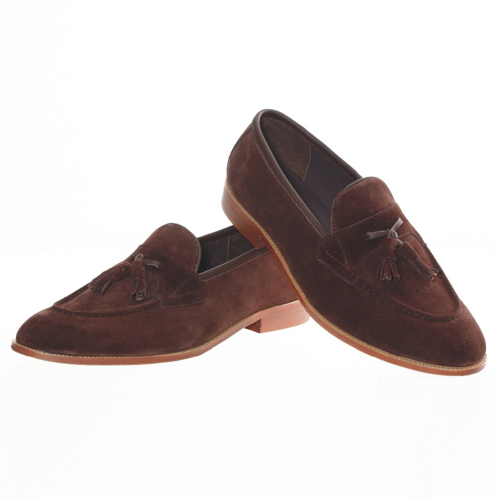 9d2d9933277 Journey West Mens Brown Leather Tassel Prom Suede Loafers
