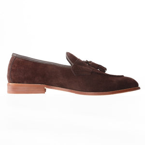 Journey West Mens Brown Leather Tassel Prom Suede Loafers