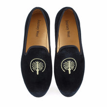 Men Journey West Black Velvet Loafers Prom Dress Party and Wedding Shoes