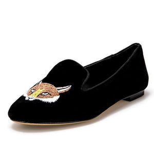 OneDrop Women Velvet Embroidered Fox Pattern Party Wedding Prom Loafers