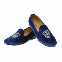 Journey West Men Blue Velvet Slip-On Flats Party And Wedding Loafers