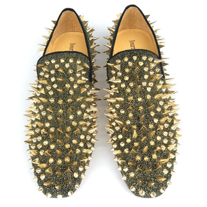 Journey West Men Party And Prom Loafers Gold Spikes Flats Red Bottom
