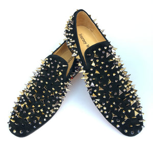 Journey West Handmade Men Party Prom Loafers Gold Spikes Red Bottom