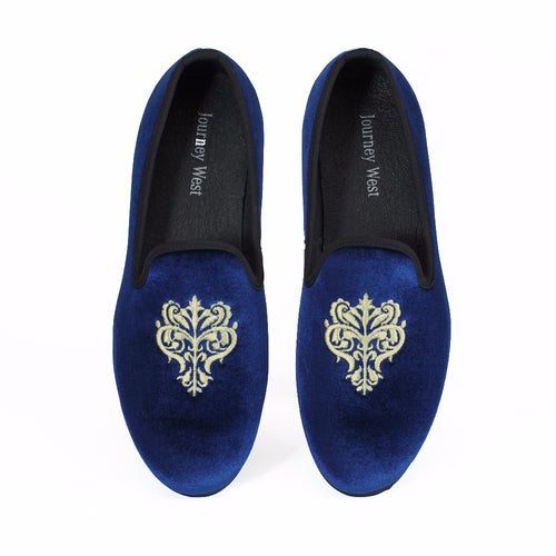 Journey West Handmade Men Blue Velvet Loafers Prom Shoes Slip-On Dress Flats