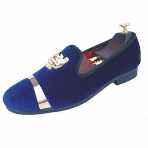 Journey West Handmade Men Gold Buckle Blue Velvet With Red Bottom Party And Wedding Loafers
