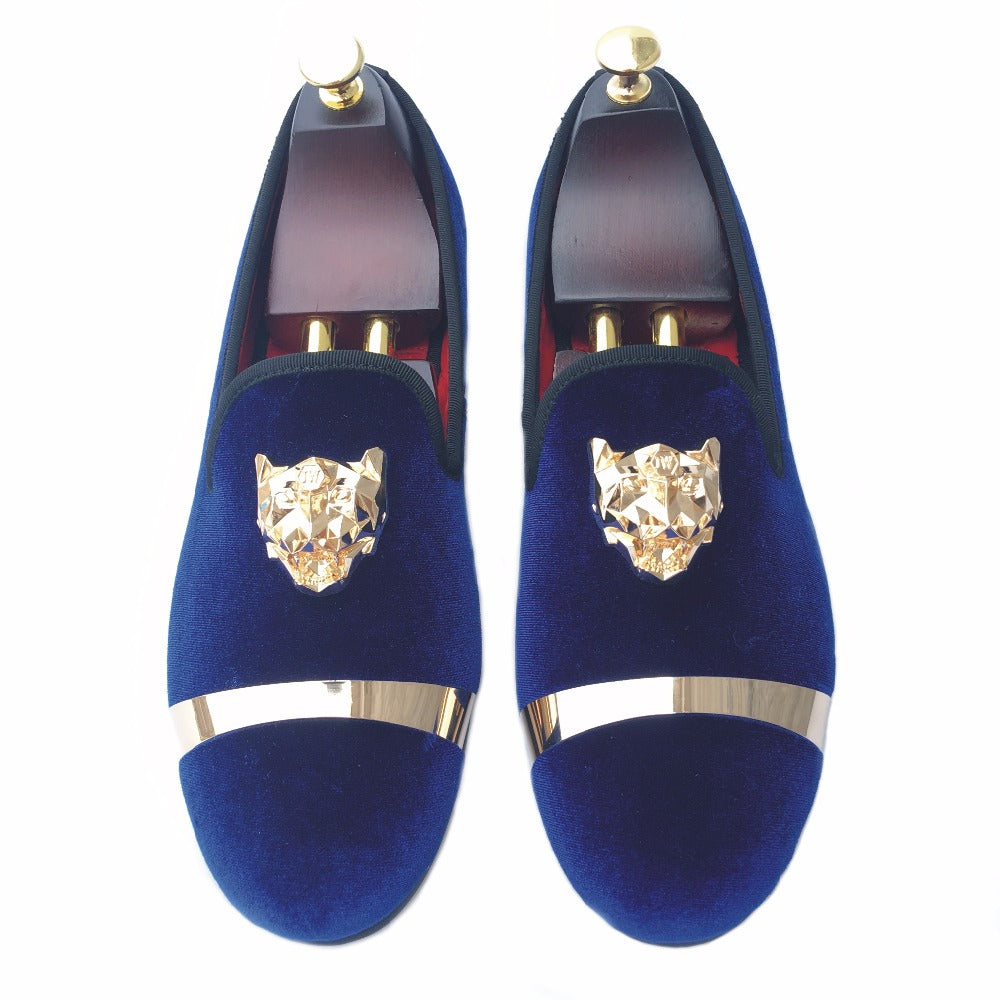 c12bf276967d ... Journey West Handmade Men Gold Buckle Blue Velvet With Red Bottom Party  And Wedding Loafers ...