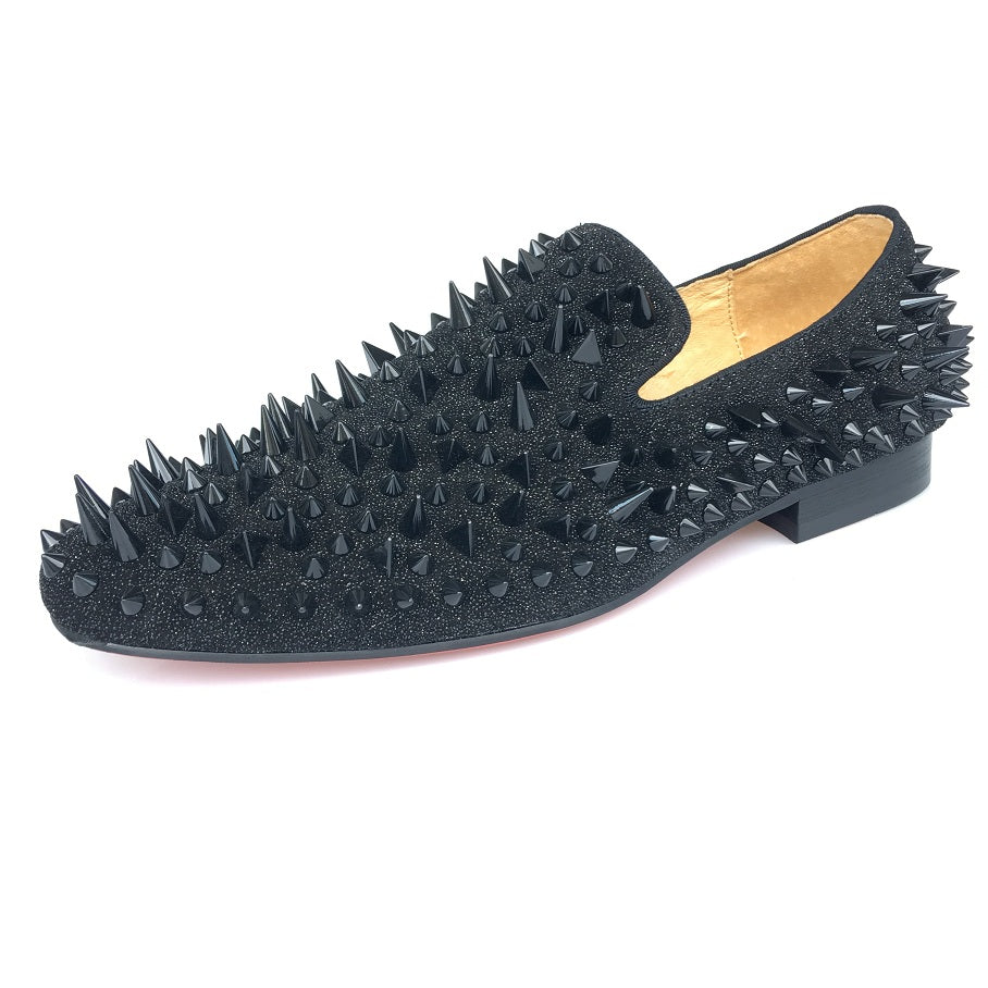 Journey West Handmade Men Party Prom Black Spikes Red Bottom Loafers