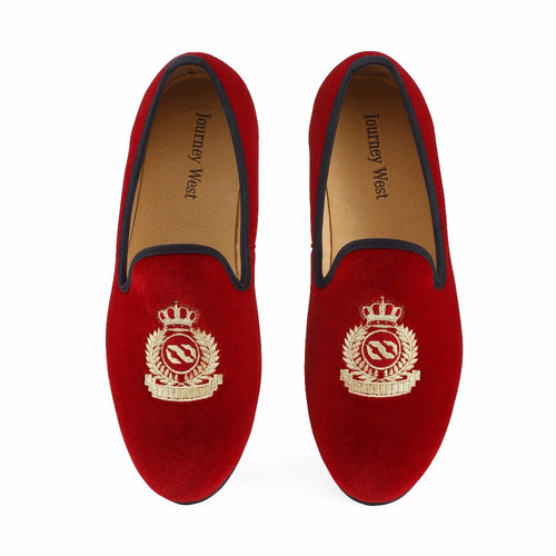 Journey West Handmade Men Red Velvet With Crown Wedding Loafers