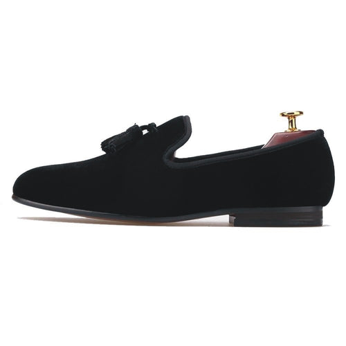 Journey West Handmade Mens Black Velvet Tassel Loafers Flats Party Dress Prom Shoes
