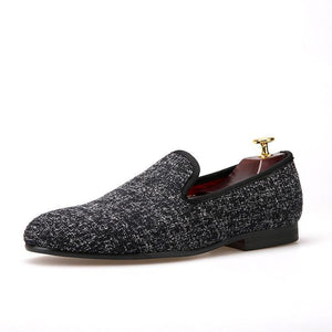 OneDrop Handmade Men Sesame Cotton Dress Shoes Party Wedding Banquet Prom Loafers
