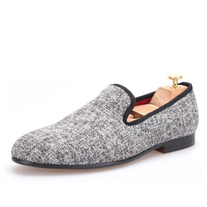 OneDrop Handmade Men Sesame Cotton Dress Shoes Party Wedding Banquet Prom Loafer