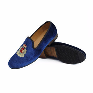 Journey West Men Velvet Dress Shoes Loafers Handmade Embroidery
