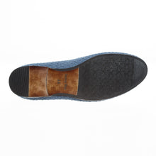 Mens Journey West Woven Leather Slip On Denim Fashion Loafers