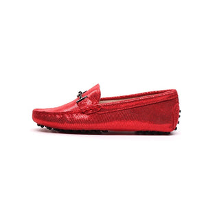 MIYAGINA Women Leather Moccasins Loafers  Flats Driving Shoes