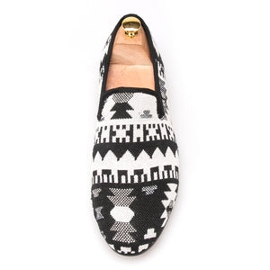 OneDrop Handmade Black And White Cotton Fabric Splicing Men Retro Party Wedding Prom Loafers