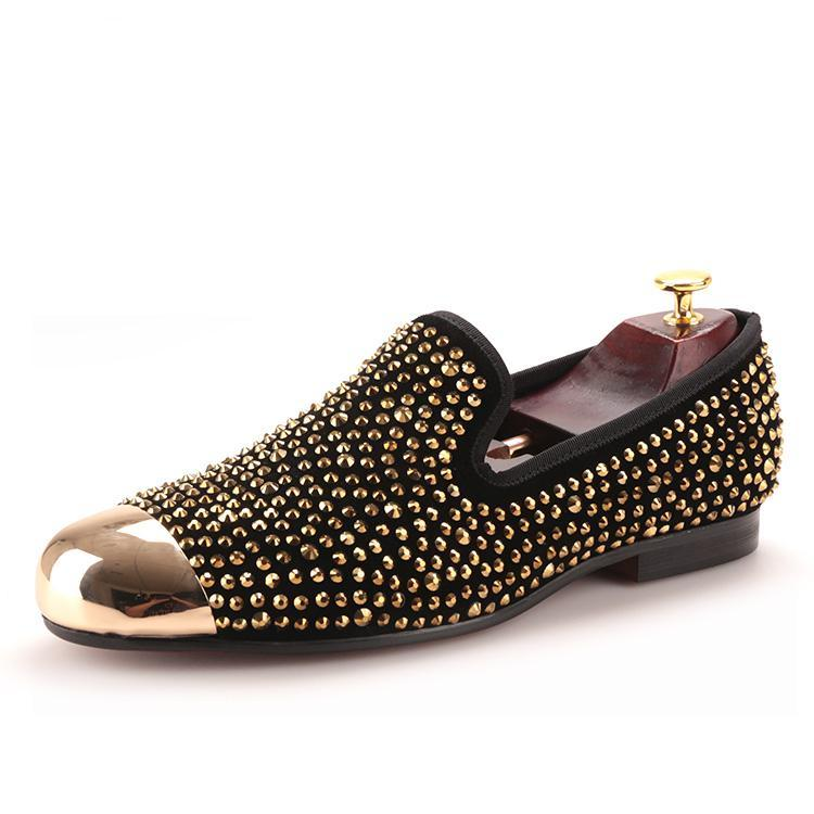 OneDrop Gold Toe And Gold Crystal Handmade Men Dress Shoes Leather Party Wedding Prom Loafers