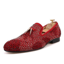 OneDrop Handmade Men Dress Shoes Suede Gold Tassel Exquisite Crystal Party Wedding Prom Loafers