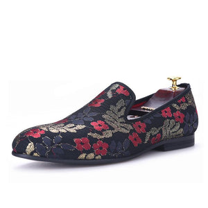 OneDrop Handmade Sequined Cloth Printing Men Dress Shoes Flower Party Wedding Prom Loafers