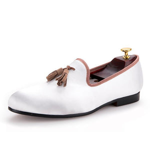 OneDrop Men Handmade Dress Shoes White Sequined Brown Tassel Wedding Party Prom Loafers