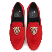 OneDrop Handmade Men Leopard Metal Buckle Velvet Dress Shoes Party Wedding Prom Loafers
