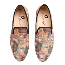 OneDrop Handcraft Men Fabric Dress Shoes Globe Printing Slippers Party Wedding Prom Loafers