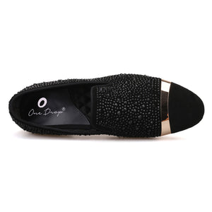 OneDrop Handmade Black Diamonds Men Dress Shoes Gold Strap Banquet Party Wedding Prom Loafers
