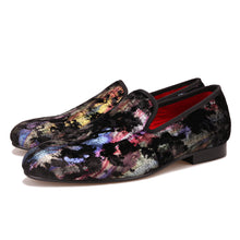OneDrop Handmade Colorful Prints Men Dress Shoes Velvet Party Wedding Prom Loafers