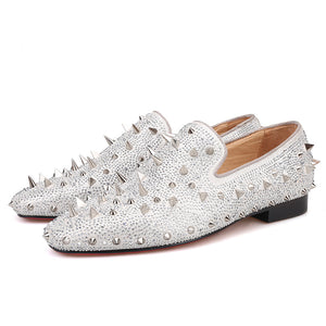 OneDrop Handmade Dress Shoes Spikes Diamond Men Glitter Leather Party Wedding Prom Loafers