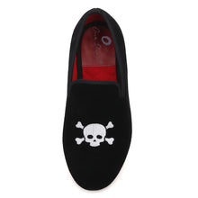 OneDrop Handmade Kid Children Velvet Skull Embroidery Party Prom Wedding Loafers