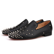 OneDrop Handmade Men Dress Shoes Black Leather Spikes Party Wedding Prom Loafers