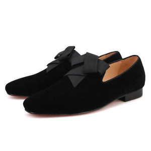 OneDrop Handmade Men Dress Shoes Black Silk Refined Velvet Party Wedding Prom Loafers
