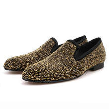 OneDrop Handmade Men Dress Shoes Gold Crystals Suede Crafted Wedding Party Prom Loafers