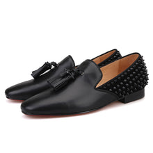 OneDrop Handmade Men Dress Shoes Leather Vamp Spikes Leather Tassels Suede Spikes Wedding Party Prom Loafers