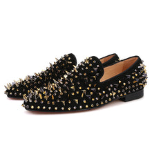 OneDrop Handmade Men Dress Shoes Suede Gold Black Rivet Spikes Party Wedding Prom Loafers
