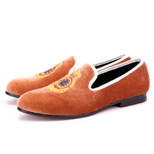 OneDrop Handmade Men Dress Shoes Turkey Crown Embroidery Brown Velvet Party Wedding Prom Loafers