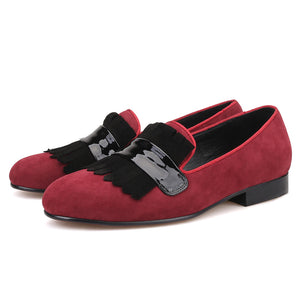 OneDrop Handmade Men Red Velvet Dress Shoes Large Suede Fringed Party Banquet Wedding Prom Loafers