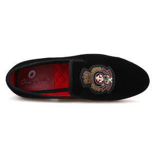 OneDrop Handmade Men Dress Shoes Velvet Hand Stitch Bullion Embroidery Party Wedding Prom Loafers
