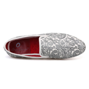 OneDrop Handmade Paisley Prints Men Dress Shoes White Slipper Wedding Party And Prom Loafers